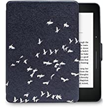 Walnew Protective case for Amazon Kindle Voyage(2014) The Thinnest and Lightest Colorful Painting PU Leather Cover with Auto Sleep/Wake Function,Bird