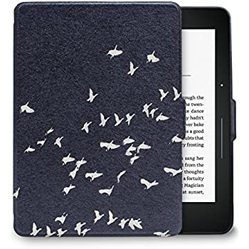 "WALNEW Kindle Voyage Colorful Painting Leather Case Cover -- the Thinnest and Lightest Voyage Case Cover for Amazon Kindle Voyage with 6"" Display and Built-in Light,Bird"