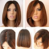 Full Lace Wig Straight Human Hair Glueless Lace Front Wigs Bob Cut 100% Brazilian Virgin Hair Ombre Color Natural Looking Short Wigs with Baby Hair (Lace Front Wig, 10 inch with 130% density)