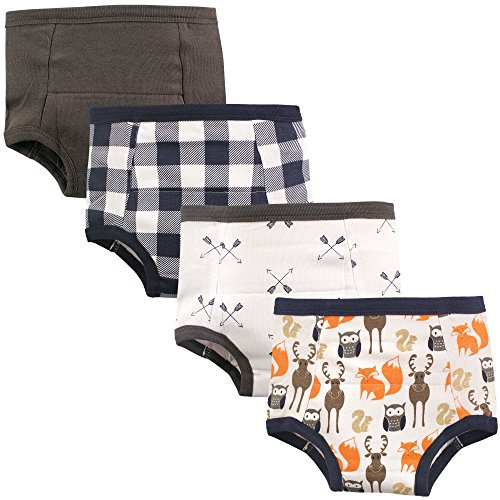 Hudson Baby Kids Unisex Baby Cotton Training Pants, Forest 4-Pack, 3 Toddler (3T)