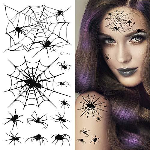 Supperb Temporary Tattoos - Spider Webs Halloween Face Tattoos