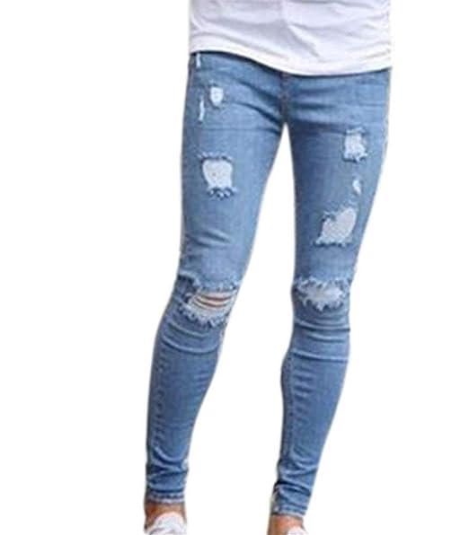 20267205b3 Battercake Hombres Los Hombres Jeans Rotos De Super Stretch Fit Flaco Jeans  Rotos Cómodo Brillante Rodilla De Punto Jeans para Hombres Pantalones De ...