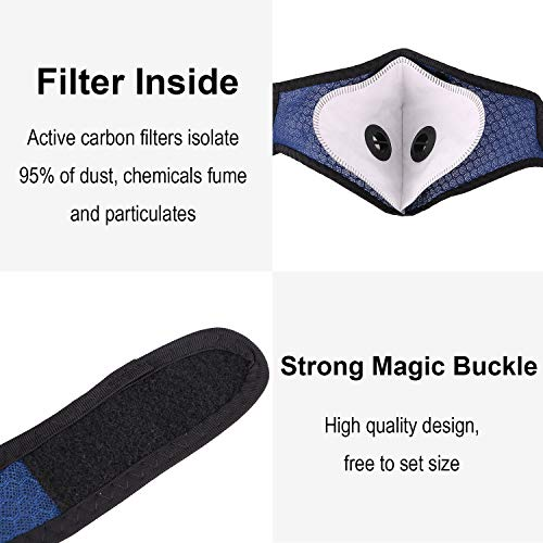 1 PCS Face Madks W/ A_ctivatived Carbon F_ilter for Sports Outdoor, Blue