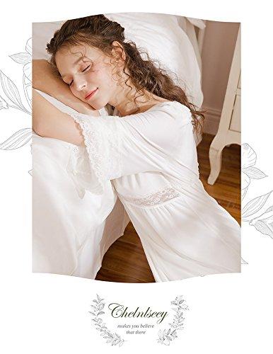 JINSHENG Primavera y el Verano de Encaje de Manga Larga con Cuello en V Corte Retro Tenis Camison Pijamas Ropa de Dormir Sexy casa Vestido.