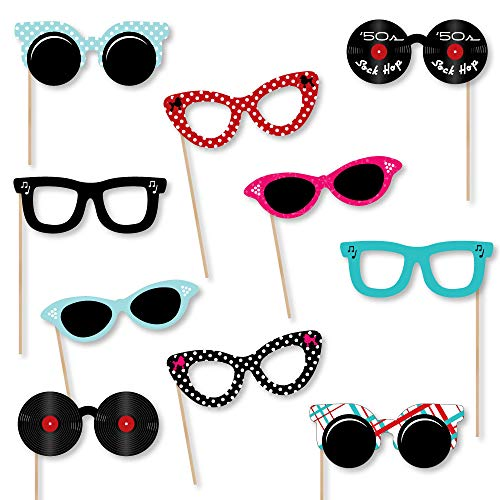 Big Dot of Happiness 50's Sock Hop Glasses - Paper Card Stock 1950s Rock N Roll Party Photo Booth Props Kit - 10 -
