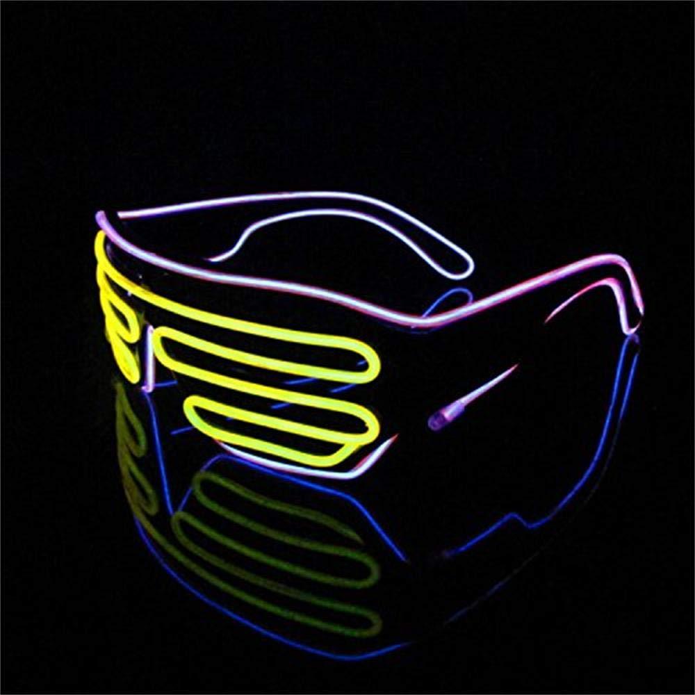 LERWAY 2 Colores LED Luz de Ne/ón Alambre Fresco Marco Divertido Shutter Gafas Blanco Cuadro Blanco+Verde Control de Voz