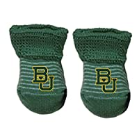 NCAA Baylor Bears Infant Stripe Gift Box Booties, New Born, Green/White