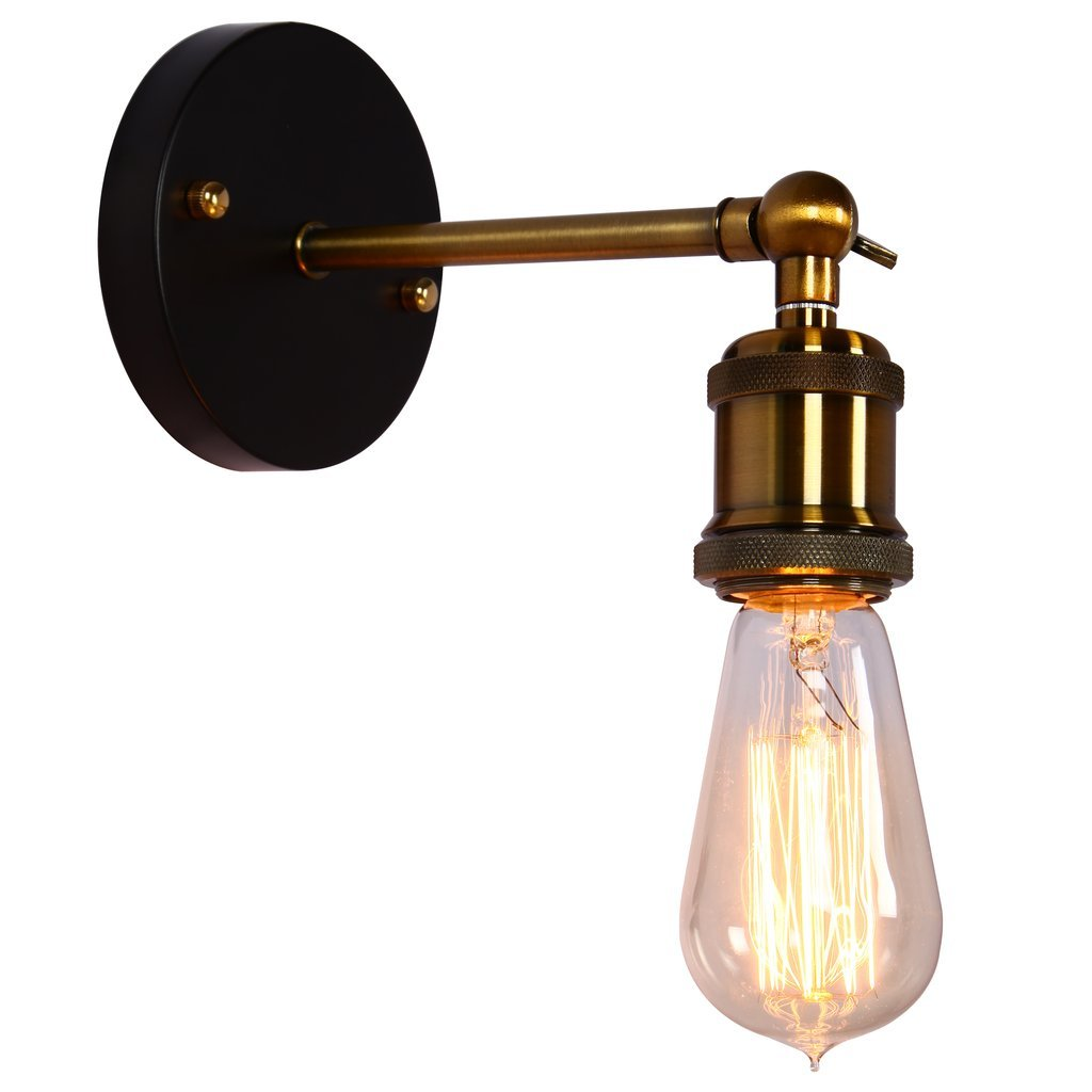 ONEPRE Vintage Industrial Brass Wall Sconce Edison Lamp Retro Metal Wall  Light, Retro Ceiling Pedant Light Fixture, Adjustable Wall Lamp      Amazon.com