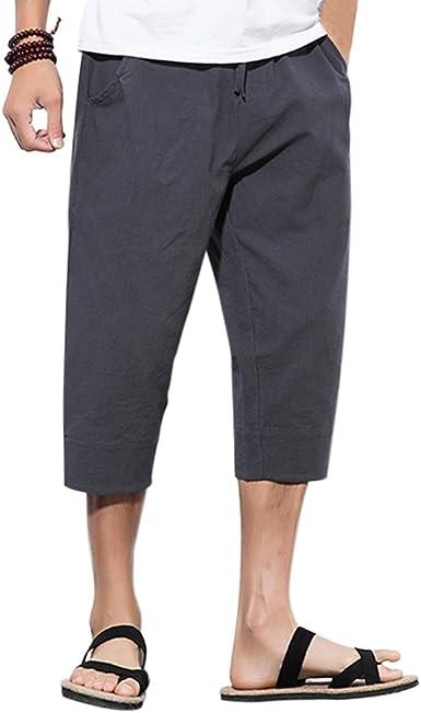 Zhhlinyuan Harem Pantalón Hombre Teens Algodón Lino Bombachos Verano Loose Large Size Hippie Drawstring Aladdin Pantalones, Solid Color: Amazon.es: Ropa y accesorios