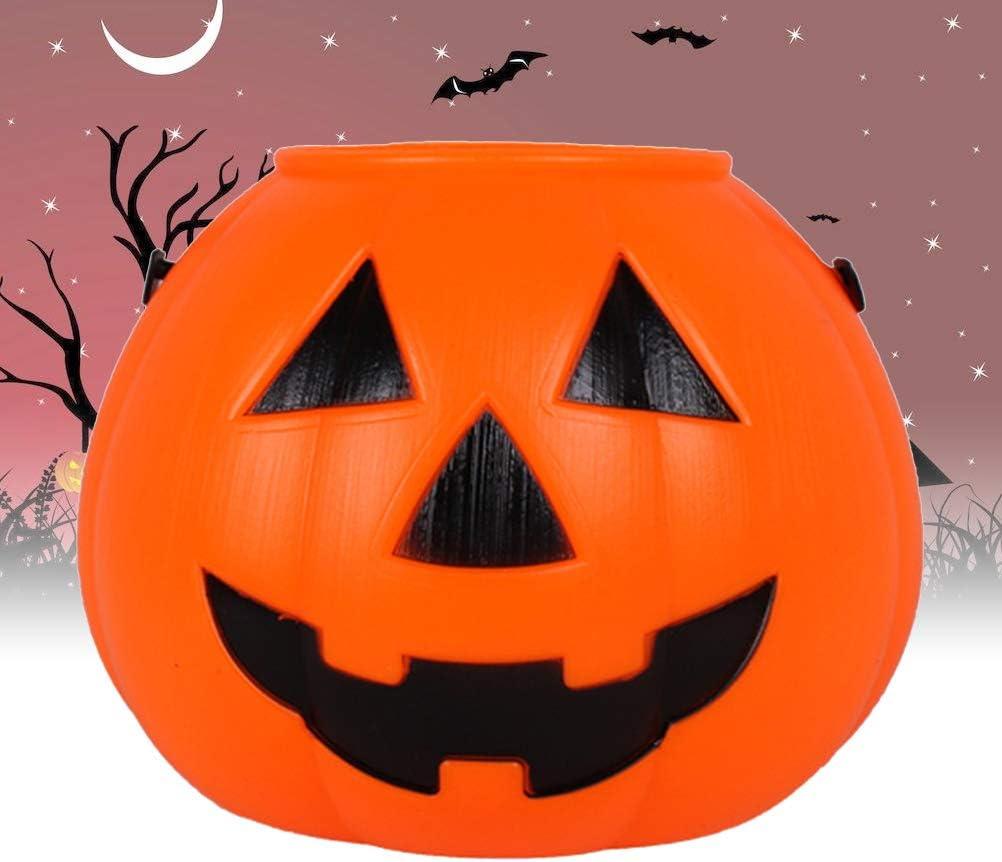 Amosfun Halloween Pumpkin Bucket Portable Pumpkin Candy Bucket Trick or Treat Bucket with Handle for Halloween Party Favor Supplies 14x18x18cm