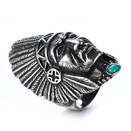 American Native Inlay Indian (JAJAFOOK Men's Vintage Tribal Biker Leader Native American Indian Chief Head Ring with Feather Turquoise, Stainless Steel)
