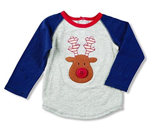 Mud Pie Boys Fair Isle Raglan T-Shirt with Reindeer Applique, 12-18 (Felt Applique Tee)