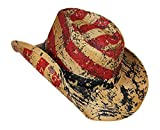 Vamuss Men's Vintage USA American Flag Cowboy Hat w/Western Shape-It Brim