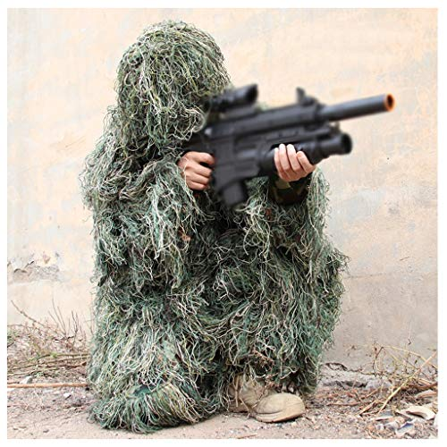 ALLIWEI Kids Camouflage Boiler Suit,Jili Service Jedi Survival Clothes Props Cos Outdoor Camping Hide with Jacket,Pants,Hat,Camouflage Rope,Storage Bag -