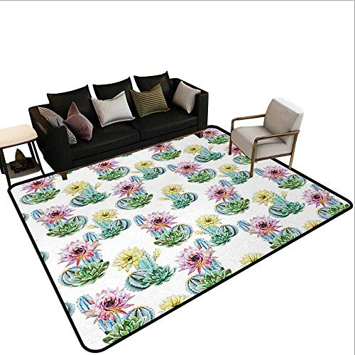 AlEASYHOME Indoor/Outdoor Floor Mat, Hot Desert in South Mexican Land Vintage Plant Cactus Flowers with Spikes, 4.9′x5.9′ Easy Clean, Pink Green and Blue