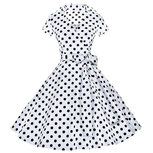 Samtree Womens Polka Dot Dresses,50s Style Short Sleeves Rockabilly Vintage Dress(S(US 2),Polka Dot White) -