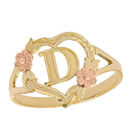 (CaliRoseJewelry 10k Two-Tone Initial Alphabet Personalized Heart Ring in Yellow and Rose Gold (Size 6.5) - Letter D )