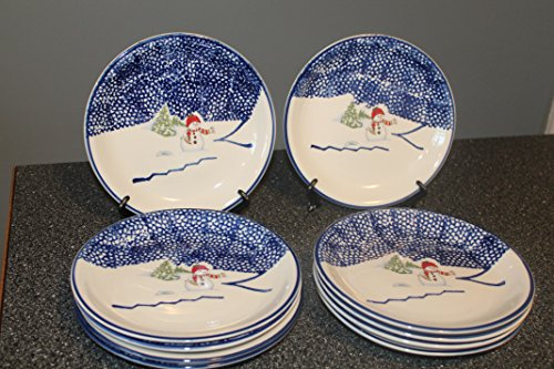 - THOMSON Snowman (5) SALAD Plates Blue Speckles On Half, Snowman/Center