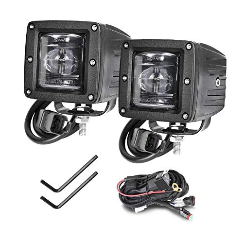 SAE Fog Lights, SWATOW 4x4 2pcs 3'' Square LED Cubes DOT Approved Driving Lights Work Light Fog Lamps for Truck Jeep SUV ATV Boat Motorcycle - 2 Year Warranty