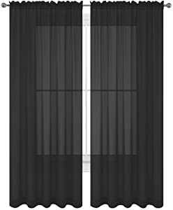 "WPM WORLD PRODUCTS MART Drape/Panels/Scarves/Treatment Beautiful Sheer Voile Window Elegance Curtains Scarf for Bedroom & Kitchen Fully Stitched and Hemmed, Set of 2 Black (Black, 84"" Inch Long)"