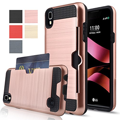 LG Tribute HD Case,LG X Style Case,LG Volt 3 Case,AnoKe [Credit Card Slots Holder][Not Wallet] Hard Silicone Rubber Hybrid Armor Shockproof Protective Case For LS676 2016 KLS Rose Gold