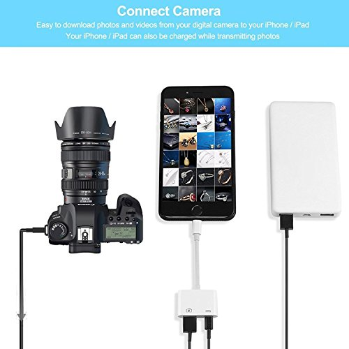 Lightning to USB Camera Adapter, Lightning to USB 3.0 Female OTG Adapter Cable Charging Interface iPhone iPad,No App Required[Support iOS 10.3 Above] by RayCue (Image #1)