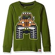 Carhartt Baby Boys' Long Sleeve Tee Shirt, Truck Dark Green, 3 Months