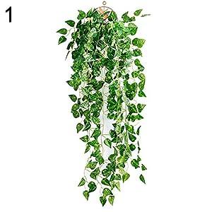 dezirZJjx Artificial Plants Artificial Fake Hanging Vine Plant Leaves Garland Home Garden Wall Decoration - 1# 70