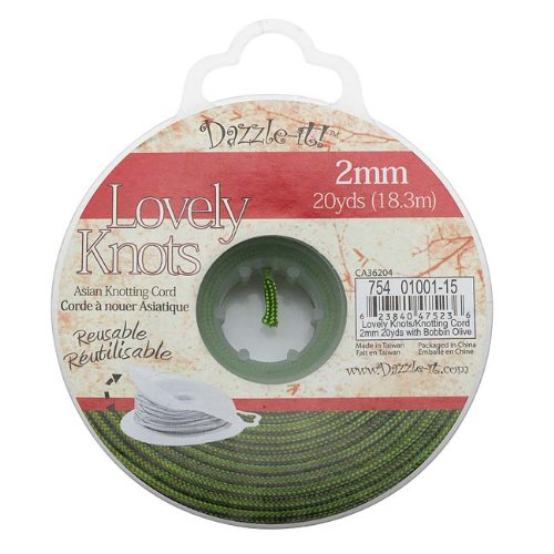 Lovely Knots - Chinese Knotting Cord 2mm Thick - Olive Green (20 Yards) (Reusable Bobbin)