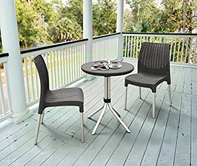 Keter 3-Piece Outdoor Patio Furniture Dining Bistro Set with Patio Table and Chairs, Grey