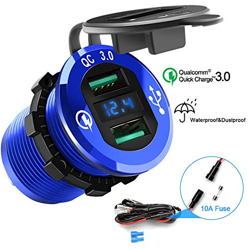- Opluz Dual QC3.0 USB Car Charger, Quickly Charge 4.8A USB Car Socket x2&Waterproof Power Outlet with LED Voltmeter for 12V/24V Car, Boat, Marine, RV, Motorcycle Mobile Build-in 10A Fuse Car Kit-Blue
