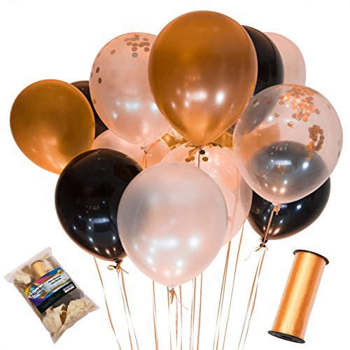 110 Party Balloons + 100 Yards Gold Curling Ribbon Roll Set By Nambri: 34 Gold Balloons | 33 White Balloons | 33 Black Balloons | 10 Gold Confetti Balloons - 12-Inch Opaque Latex Balloons For Parties