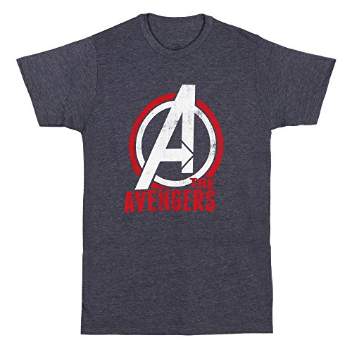 Impact The Avengers Distressed Logo Adult T-Shirt - Heather Navy (Medium)