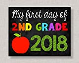 Olga212Patrick First Day of Second Grade Sign Plaque First Day of 2nd Grade Sign Plaque First Day of School Sign Plaque First Day of School Chalkboard Printable Chalkboard Sign Plaque