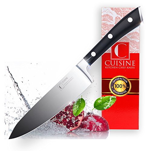 Professional Kitchen Chef Knife Set – Super Sharp, 8-Inch, High Carbon German Stainless Steel – Well-Balanced, Lightweight, Ergonomic Handle – Durable, Rustproof + FREE Knives Sharpener by (Cuisine Knife)