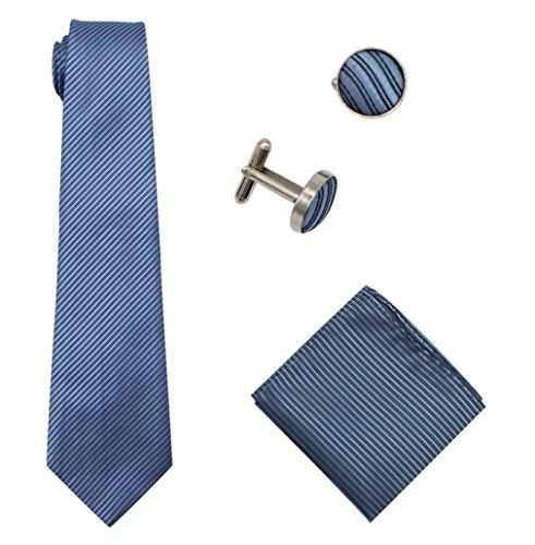 Bioterti Men's 3-Piece Necktie Set:Solid Color Stripes Necktie, Pocket Square & Cufflinks (Blue)