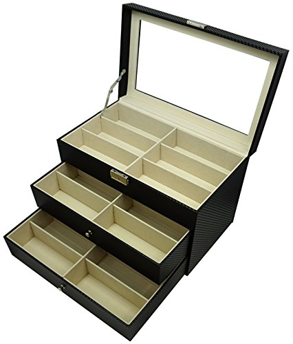 ORIGIA Holding 6 Watches and 12 Glasses, or 18 Glasses, Sunglasses Box Eyewear Watch Accessories Display Storage Case Organizer
