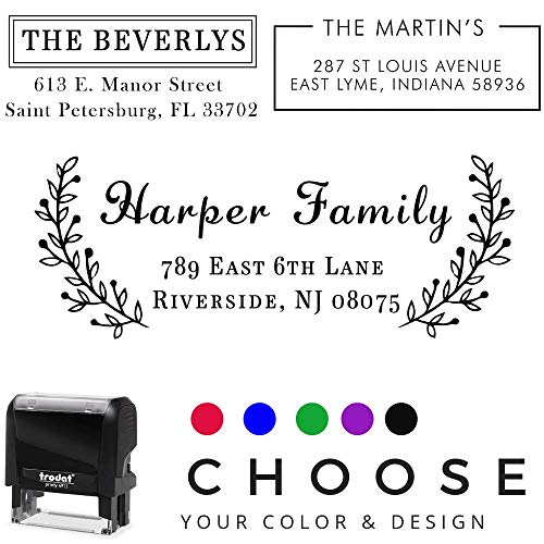 20 Designs to Choose!! Personalized - Address Stamp - Customized Stamp - Self-Inking Return Address Mail 3 Lines Custom Address Stamper - Black Red Blue Purple Green Ink - Wedding ()