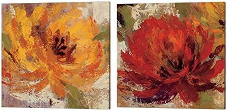 Amazon Com Fiery Dahlias By Silvia Vassileva 2 Piece Canvas Art Set 14 X 14 Inches Each Floral Art Posters Prints