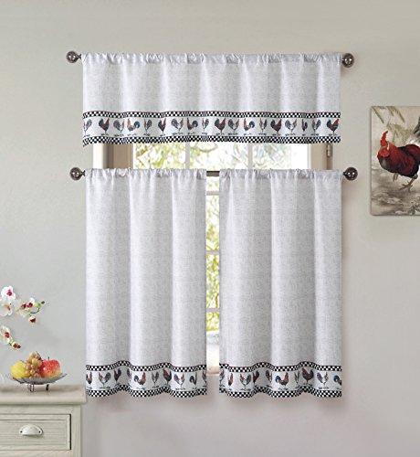 Cotton Blend 3 Piece Kitchen/Cafe Tier Window Curtain Set...