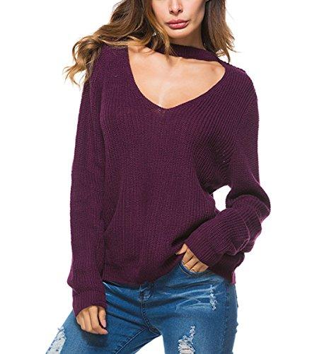 Casuale Pullover Xsayjia Maglione Purple Jumper Lunga Manica Tops Donna Sweatshirt collo Elegante V Maglioni Camicetta Maglieria Maglia 5AzwqA