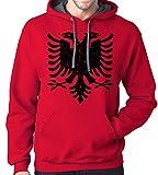 Albanian Eagle Hoodie Sweatshirt, Large, Red