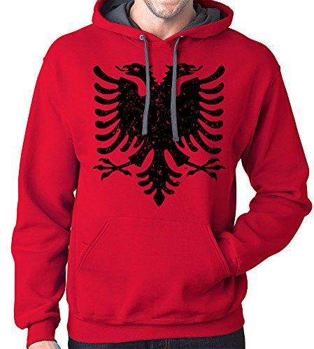 Gbond Apparel Albanian Eagle Hoodie Sweatshirt, Large, Red