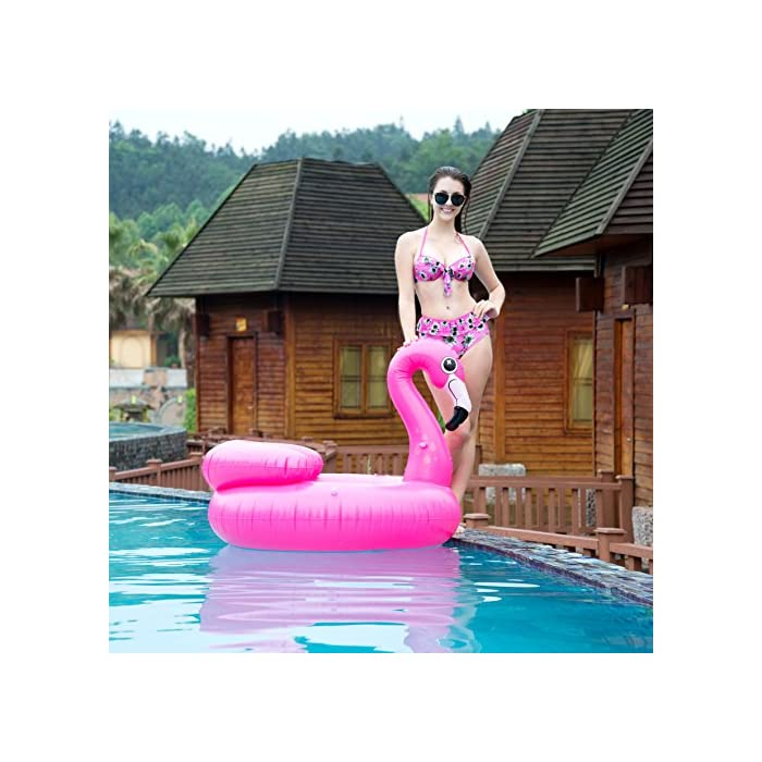 """51J hx %2BiXL Adorable flamenco inflado con diámetro 45 """"de JOYIN, ¡Salón de la piscina de diseño único! Dimensión inflada: 45"""" x 50 """"x 39"""". Este colchoneta hinchable hay 2 portavasos y reposacabezas. El diseño exclusivo de la almohada, se puede sentir más comodidad y relajación. Diseño nuevo y premium: un flamenco rosado tropical con dos portavasos y ojos lindos y centelleantes."""