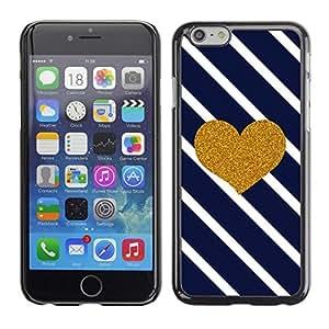 "Pulsar Snap-on Series Teléfono Carcasa Funda Case Caso para Apple Iphone 6 Plus / 6S Plus ( 5.5 ) , Corazón Líneas de azules marinos Glitter Valentines"""