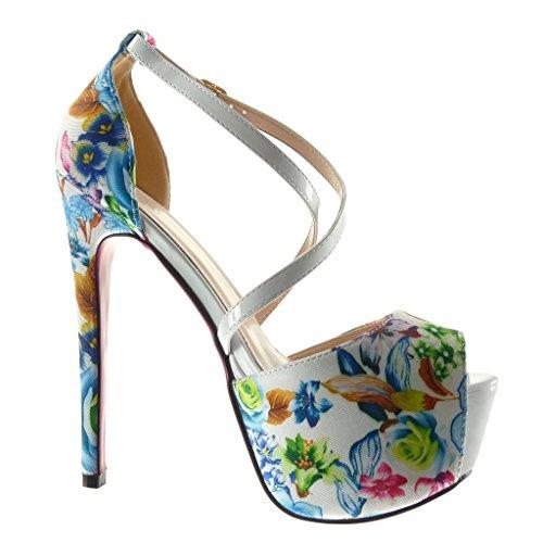 Tacco Moda decollete Scarpe CM scarpe Angkorly stiletto sandali Stiletto sexy donna fiori zeppe 15 tanga alto Bianco P5qCW