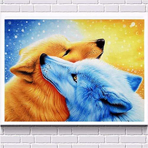 WAZHCY Malen nach Zahlen für Anfänger Junior Geschenk für Erwachsene Kinderliebe Wolf DIY Malerei-with Frame B07Q2BKJ7L | Ausgezeichnete Leistung