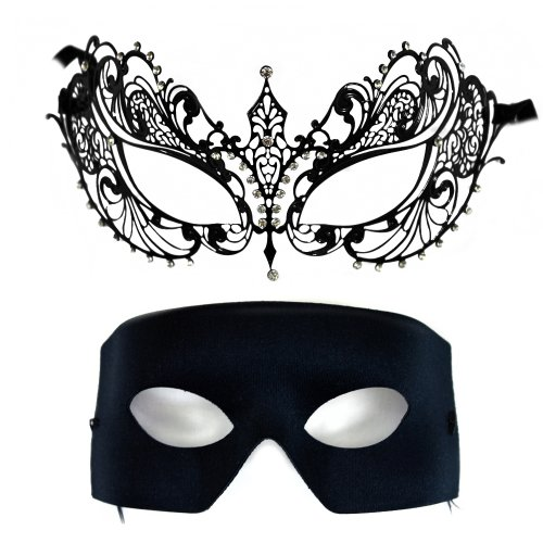 Corrine-Verona Laser-Cut Metal and Classic Masquerade Mask for a (Black Verona Adult Mask)