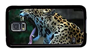Hipster Samsung Galaxy S5 Case indestructible covers Yawning Leopard PC Black for Samsung S5