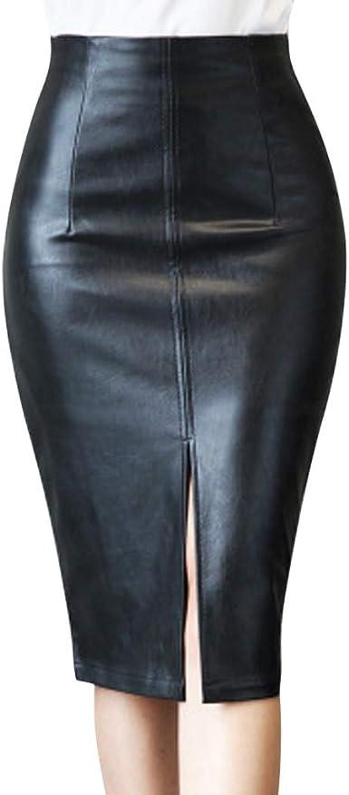 QIjinlok Faldas de Cuero Mujer Tallas Grandes Faldas Cortas ...